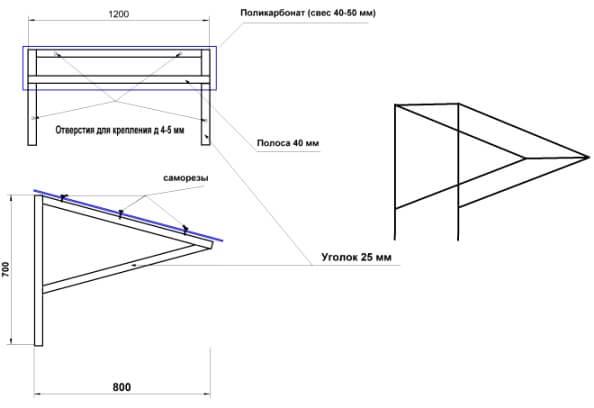 Сооружение козырька на каркасе из металлических труб