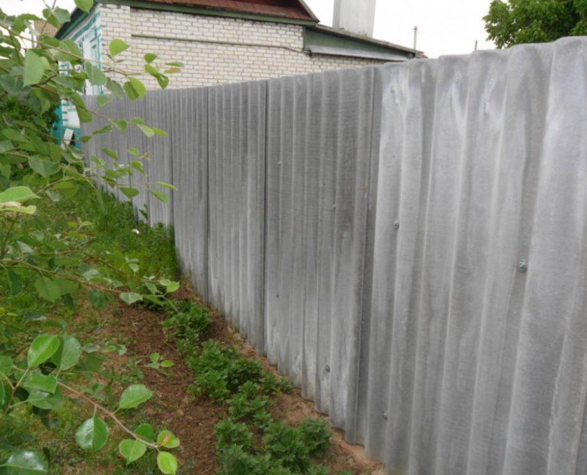 Как сделать забор из шифера