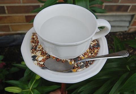 Оригинальная кормушка, выполненная из чайного набора