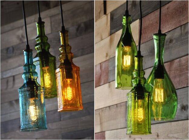 подвесные светильники из бутылок