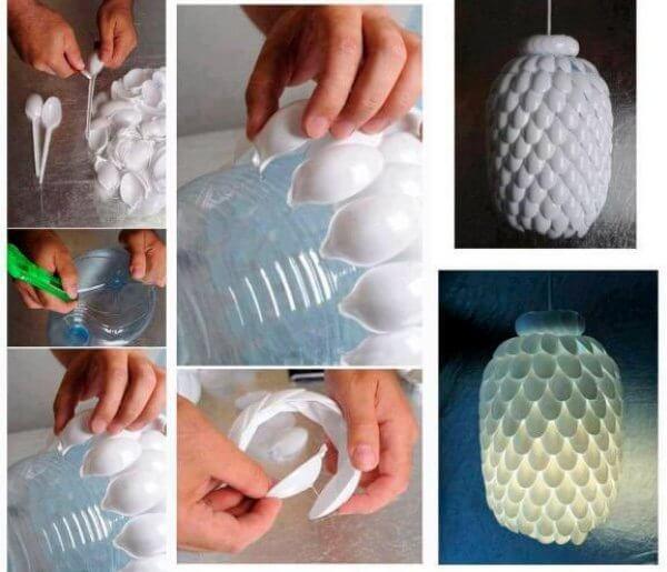 Подвесные светильники из пластиковых бутылок
