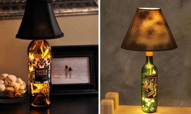 Настольные лампы из винных бутылок