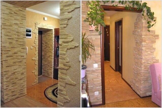 отделка стен и арок искусственным камнем